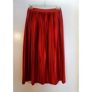TOPSHOP Red Pleated Skirt